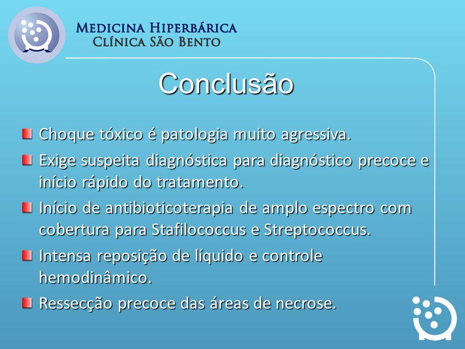 Conclusão Choque tóxico é patologia muito agressiva. Exige suspeita diagnóstica para diagnóstico precoce e início rápido do tratamento. Início de anti