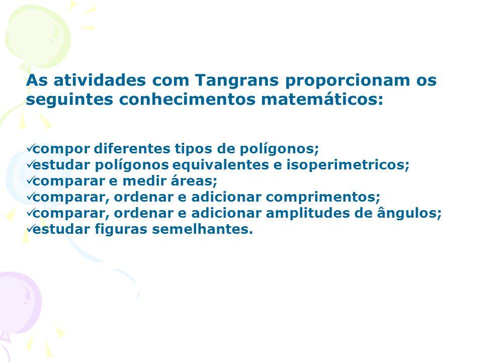 As atividades com Tangrans proporcionam os seguintes conhecimentos matemáticos: compor diferentes tipos de polígonos; estudar polígonos equivalentes e