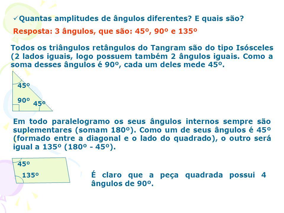 Quantas amplitudes de ângulos diferentes? E quais são? Resposta: 3 ângulos, que são: 45º, 90º e 135º Todos os triângulos retângulos do Tangram são do