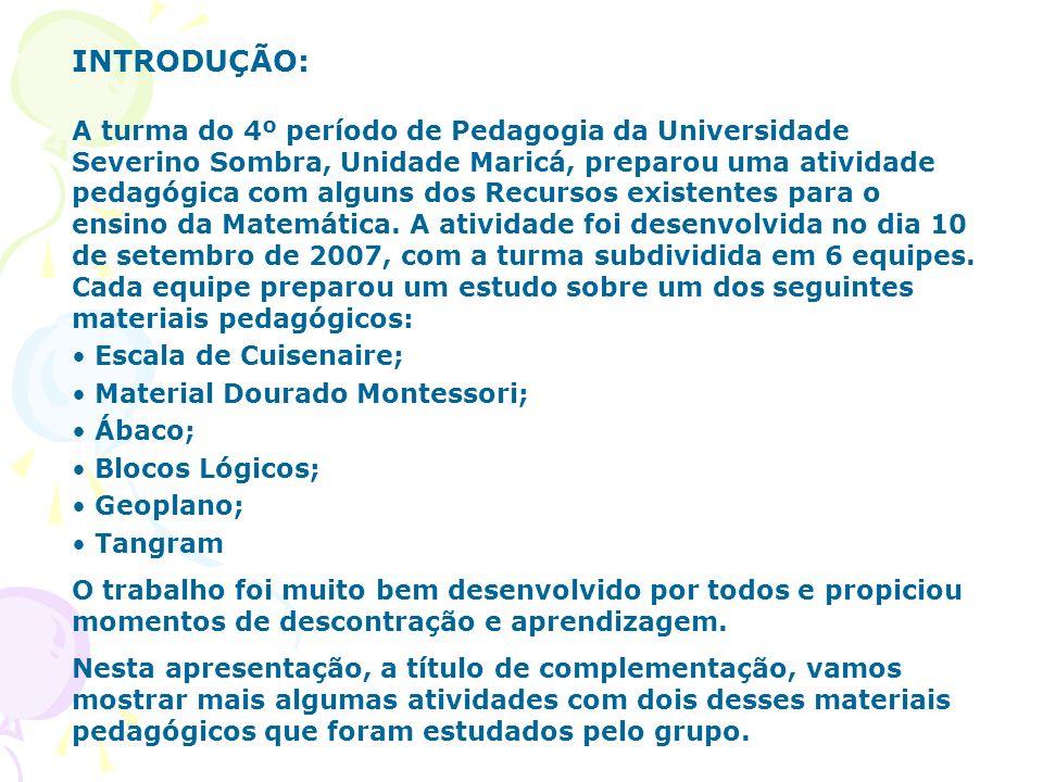 A turma do 4º período de Pedagogia da Universidade Severino Sombra, Unidade Maricá, preparou uma atividade pedagógica com alguns dos Recursos existent