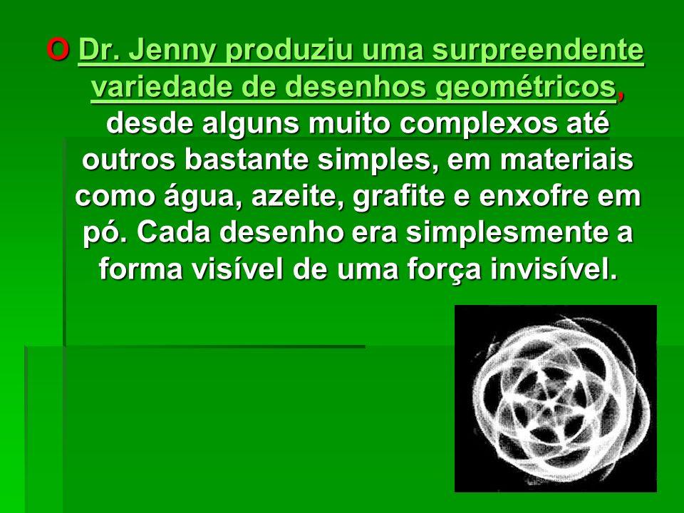 QUESTÃO DE VIBRAÇÃO Há mais de cinqüenta anos, em 1947, o Dr. Hans Jenny desenvolveu uma nova ciência para investigar a relação entre a vibração e a f