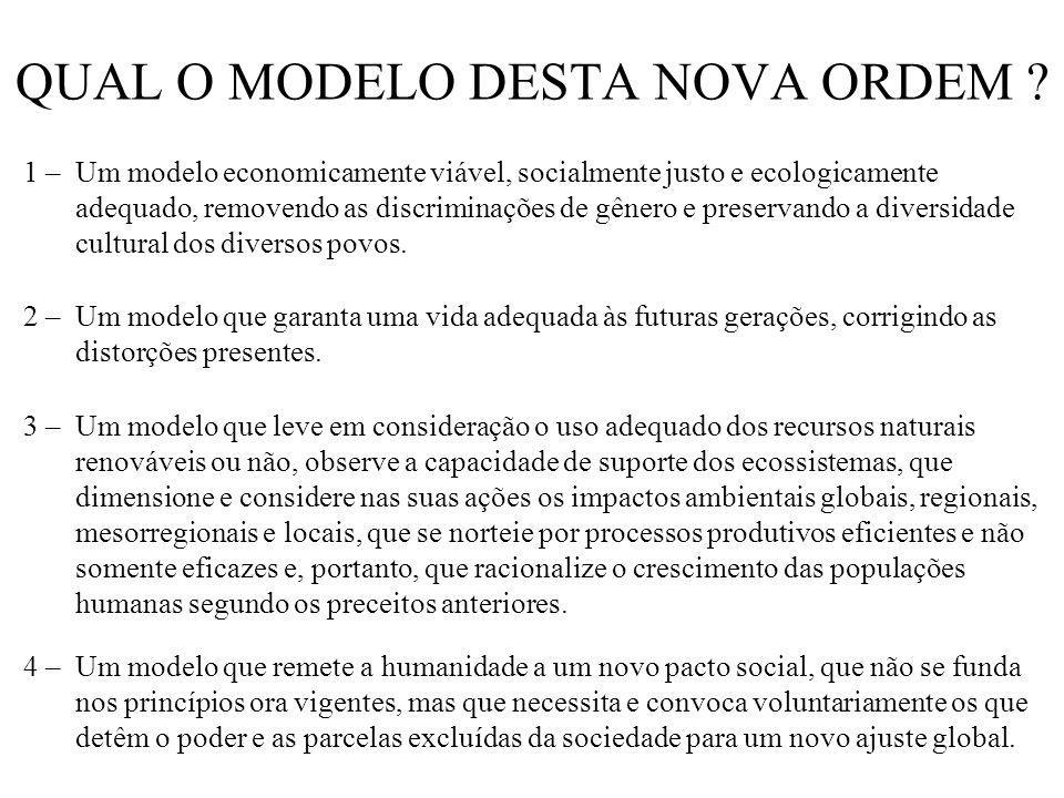 QUAL O MODELO DESTA NOVA ORDEM ? 1 – Um modelo economicamente viável, socialmente justo e ecologicamente adequado, removendo as discriminações de gêne