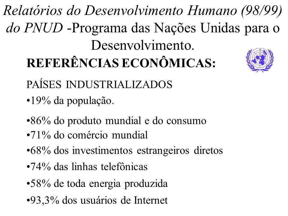 Relatórios do Desenvolvimento Humano (98/99) do PNUD -Programa das Nações Unidas para o Desenvolvimento. REFERÊNCIAS ECONÔMICAS: PAÍSES INDUSTRIALIZAD