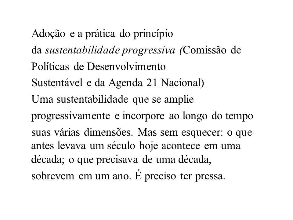 Adoção e a prática do princípio da sustentabilidade progressiva (Comissão de Políticas de Desenvolvimento Sustentável e da Agenda 21 Nacional) Uma sus