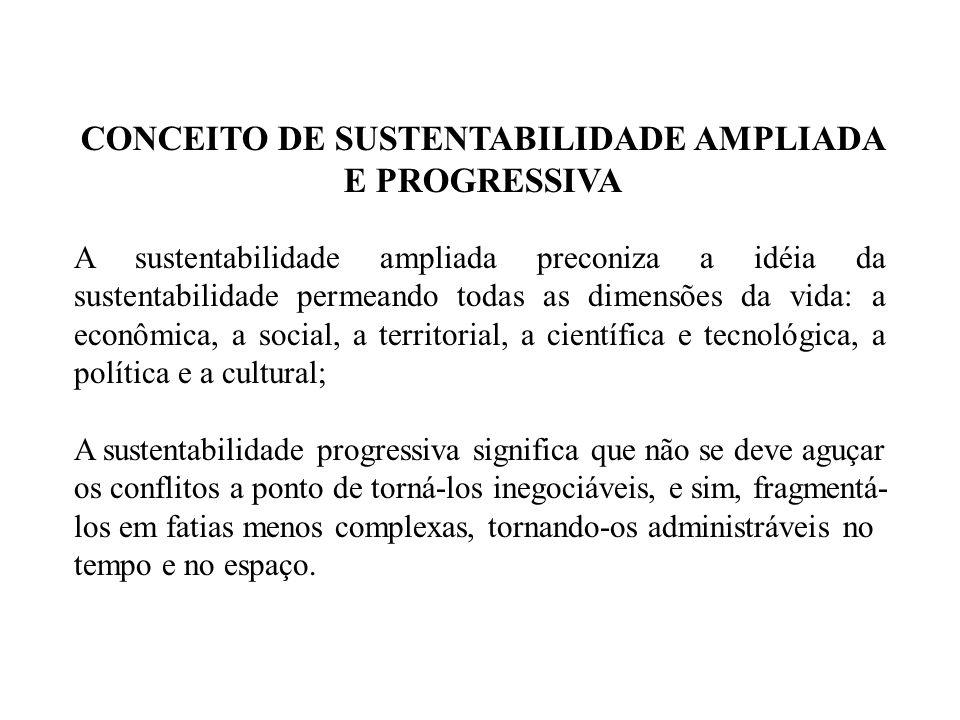 A sustentabilidade ampliada preconiza a idéia da sustentabilidade permeando todas as dimensões da vida: a econômica, a social, a territorial, a cientí