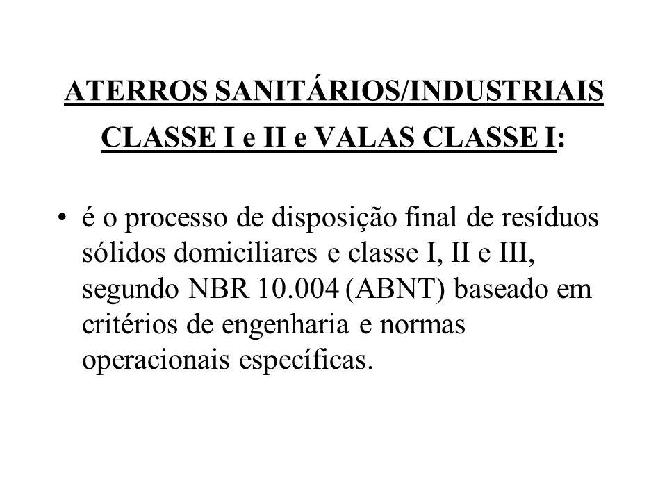 ATERROS SANITÁRIOS/INDUSTRIAIS CLASSE I e II e VALAS CLASSE I: é o processo de disposição final de resíduos sólidos domiciliares e classe I, II e III,