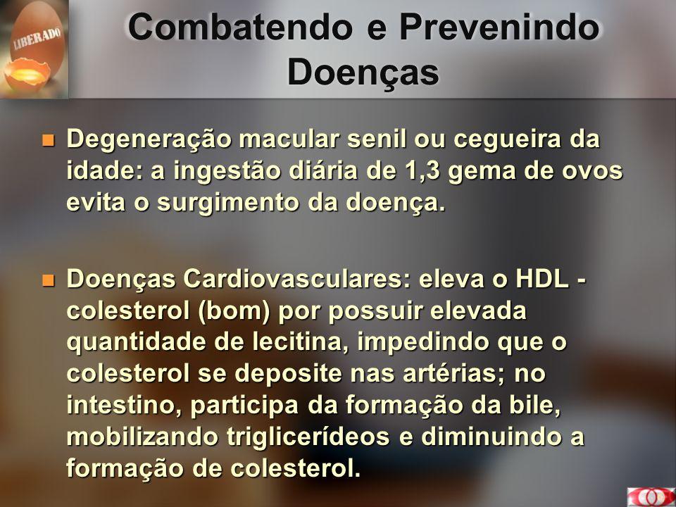 Combatendo e Prevenindo Doenças Degeneração macular senil ou cegueira da idade: a ingestão diária de 1,3 gema de ovos evita o surgimento da doença. De