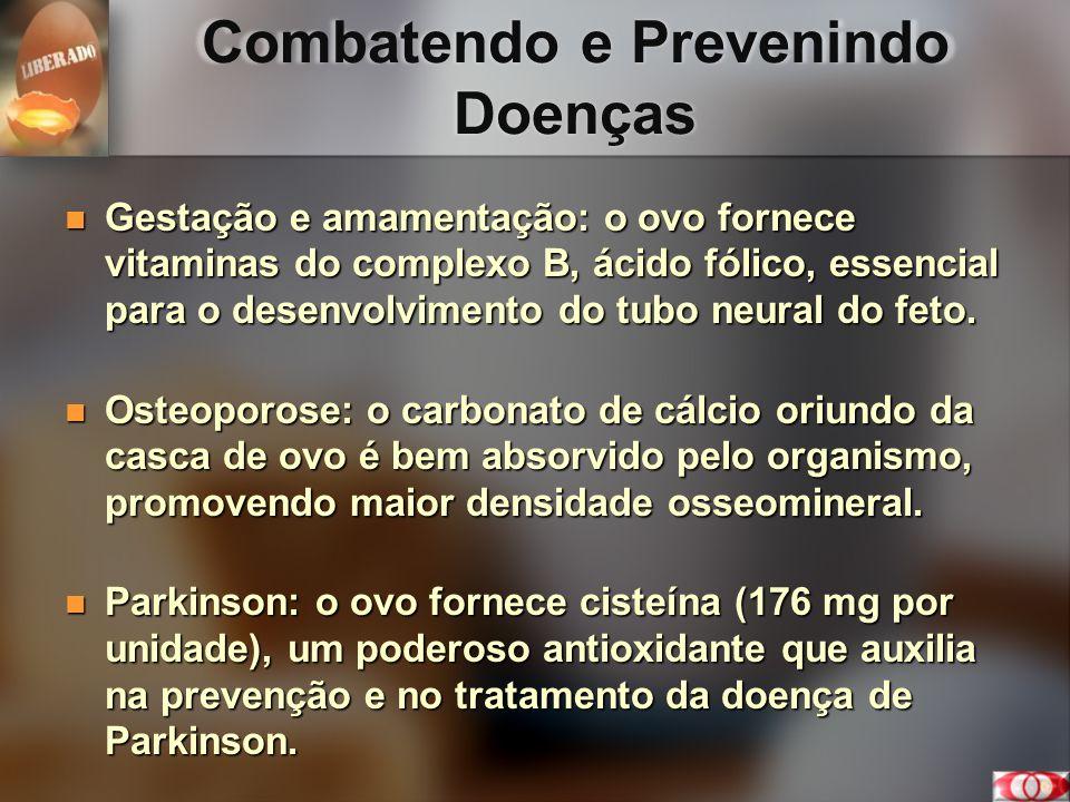 Combatendo e Prevenindo Doenças Gestação e amamentação: o ovo fornece vitaminas do complexo B, ácido fólico, essencial para o desenvolvimento do tubo