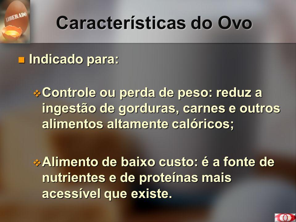 Características do Ovo Indicado para: Indicado para: Controle ou perda de peso: reduz a ingestão de gorduras, carnes e outros alimentos altamente caló