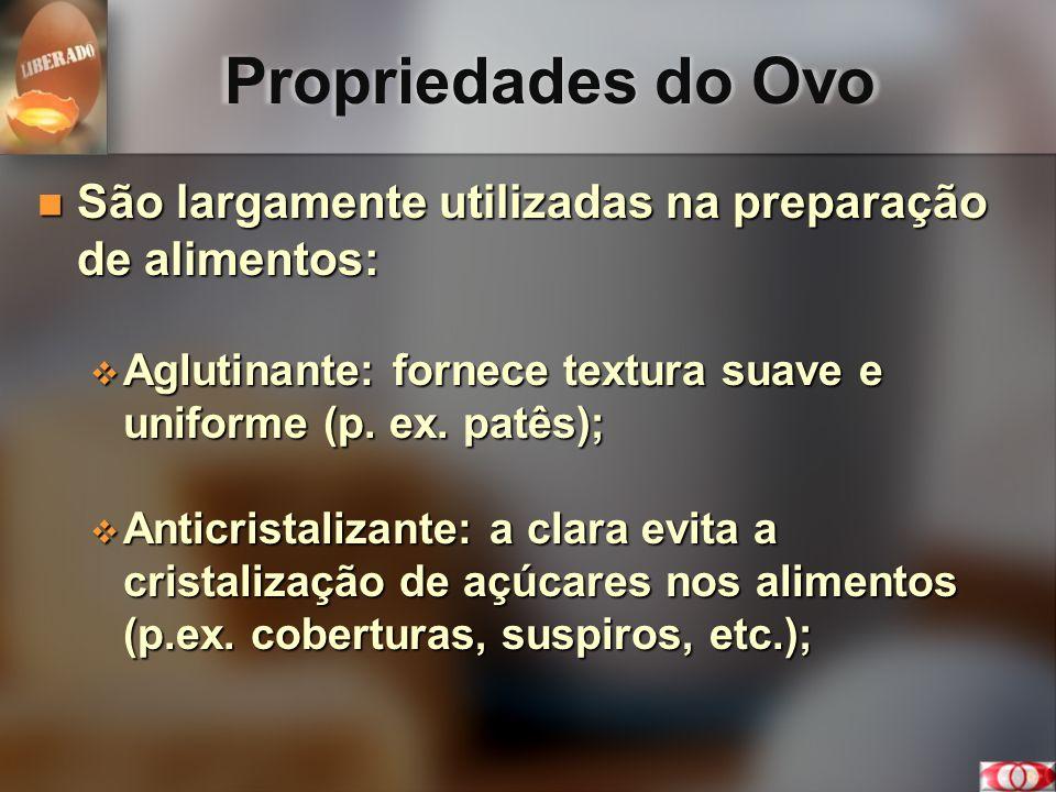 Propriedades do Ovo São largamente utilizadas na preparação de alimentos: São largamente utilizadas na preparação de alimentos: Aglutinante: fornece t