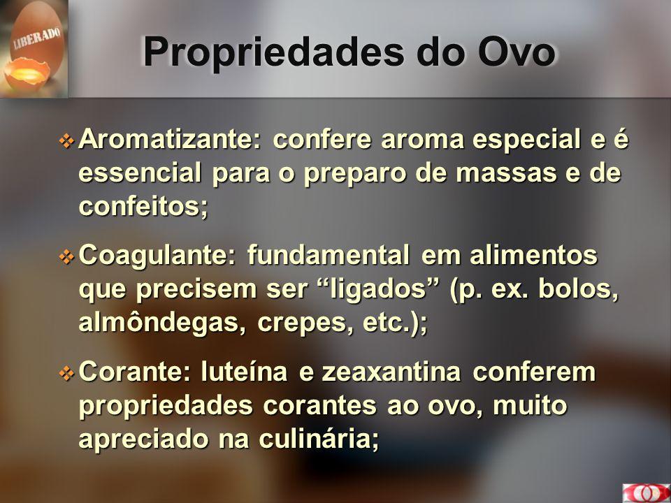 Propriedades do Ovo Aromatizante: confere aroma especial e é essencial para o preparo de massas e de confeitos; Aromatizante: confere aroma especial e