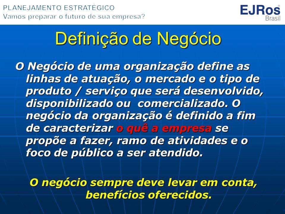 Definição de Negócio O Negócio de uma organização define as linhas de atuação, o mercado e o tipo de produto / serviço que será desenvolvido, disponib