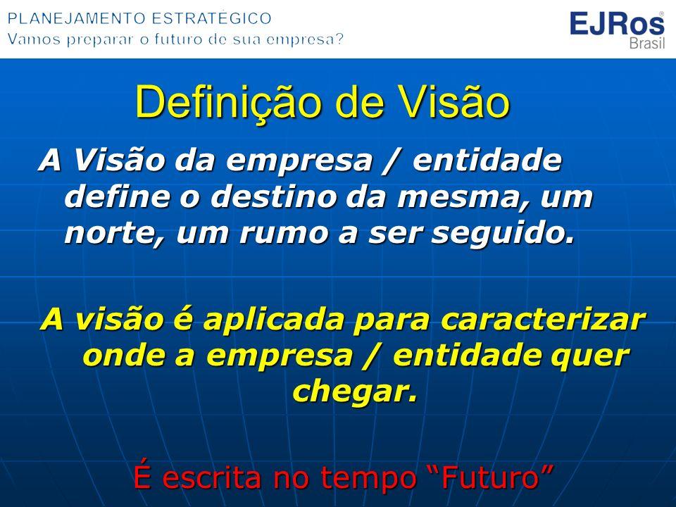 Definição de Visão A Visão da empresa / entidade define o destino da mesma, um norte, um rumo a ser seguido. A visão é aplicada para caracterizar onde