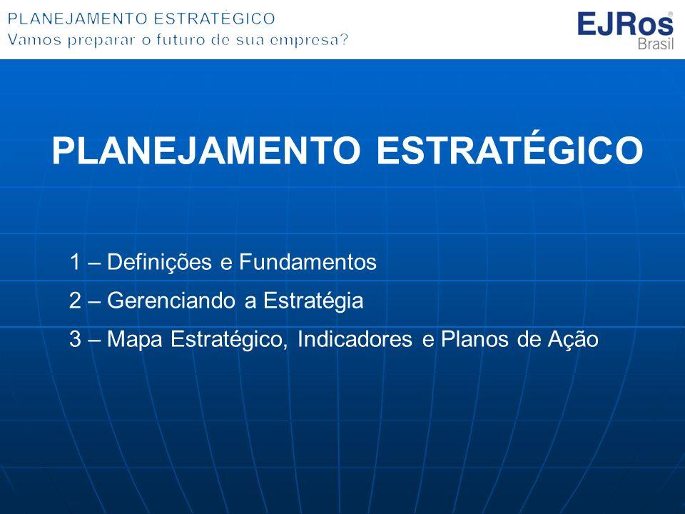 1 – Definições e Fundamentos 2 – Gerenciando a Estratégia 3 – Mapa Estratégico, Indicadores e Planos de Ação PLANEJAMENTO ESTRATÉGICO