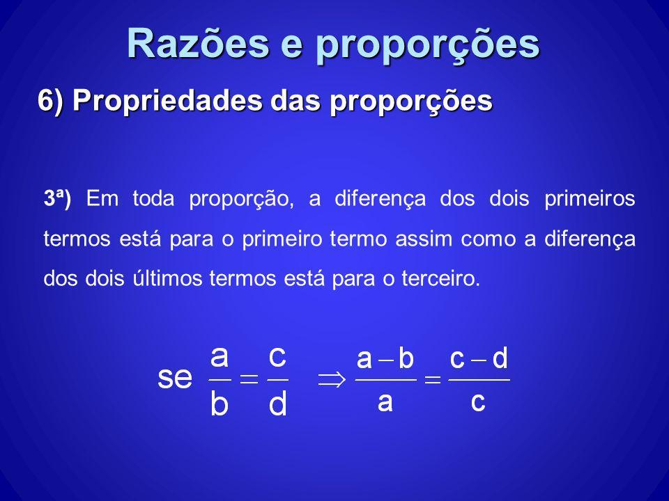 Razões e proporções 6) Propriedades das proporções 3ª) Em toda proporção, a diferença dos dois primeiros termos está para o primeiro termo assim como