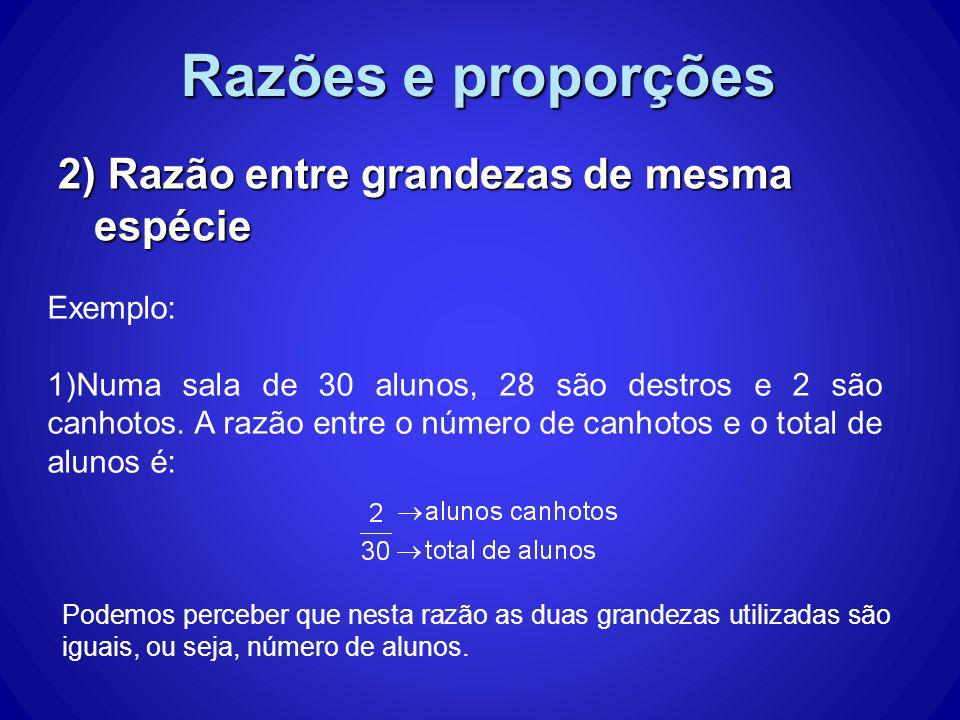 Razões e proporções 3) Razão entre grandezas de espécies diferentes Lembre-se: Grandeza é tudo o que pode ser medido ou quantificado.