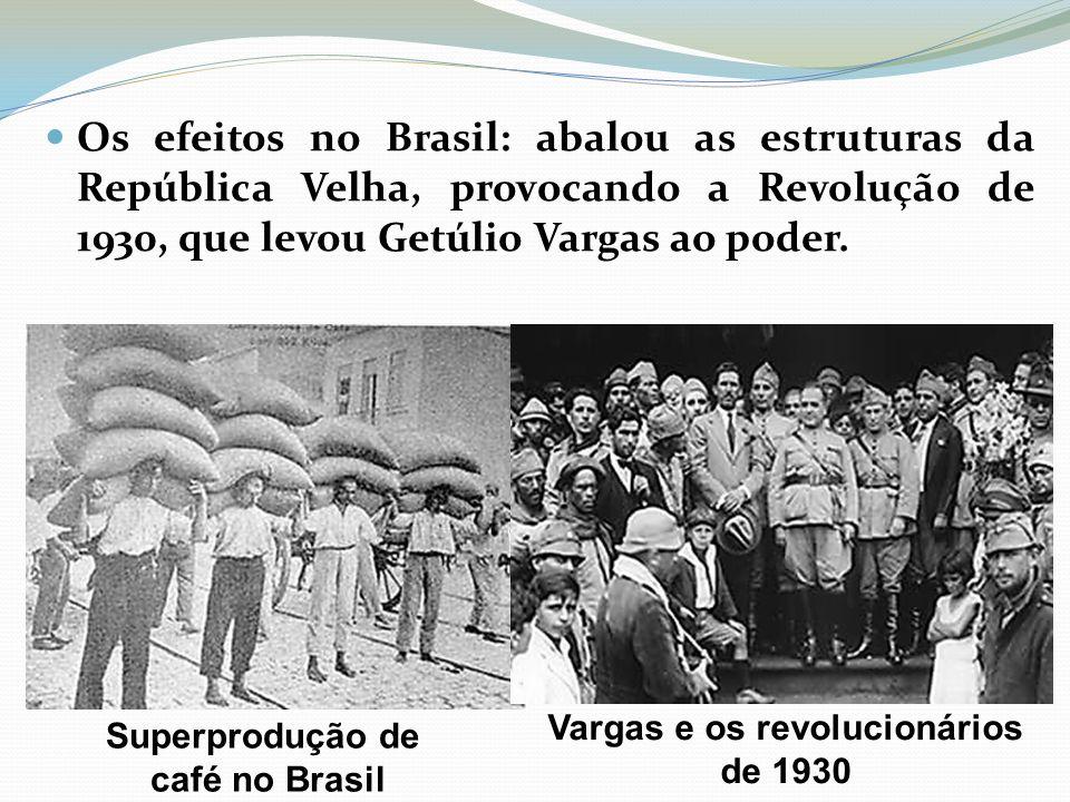 Os efeitos no Brasil: abalou as estruturas da República Velha, provocando a Revolução de 1930, que levou Getúlio Vargas ao poder.