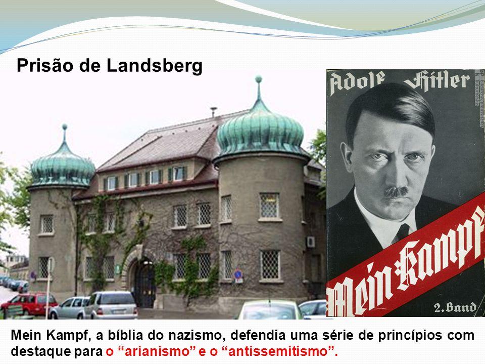 Prisão de Landsberg Mein Kampf, a bíblia do nazismo, defendia uma série de princípios com destaque para o arianismo e o antissemitismo.