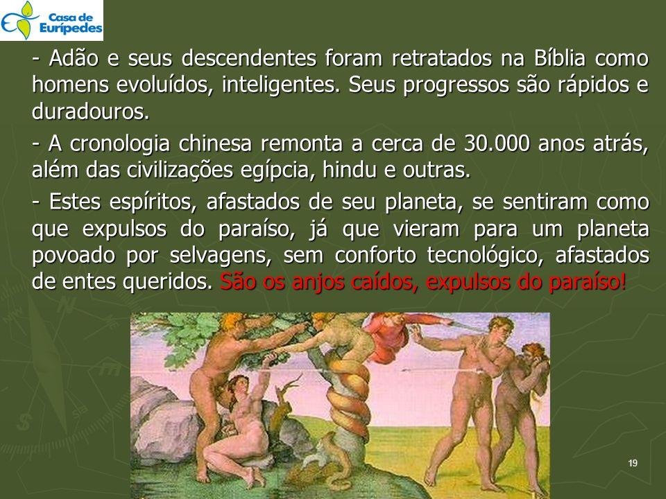 - Adão e seus descendentes foram retratados na Bíblia como homens evoluídos, inteligentes. Seus progressos são rápidos e duradouros. - A cronologia ch