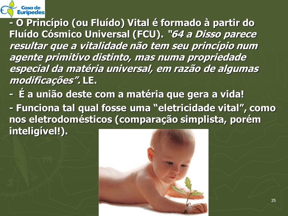 25 - O Princípio (ou Fluído) Vital é formado à partir do Fluído Cósmico Universal (FCU). 64 a Disso parece resultar que a vitalidade não tem seu princ