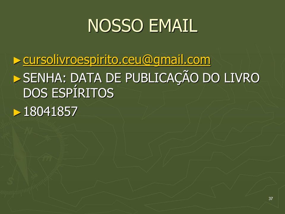 NOSSO EMAIL cursolivroespirito.ceu@gmail.com cursolivroespirito.ceu@gmail.com cursolivroespirito.ceu@gmail.com SENHA: DATA DE PUBLICAÇÃO DO LIVRO DOS