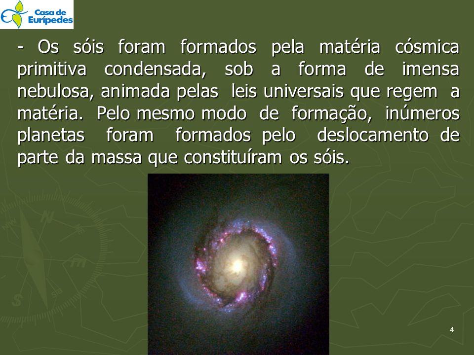 - Os sóis foram formados pela matéria cósmica primitiva condensada, sob a forma de imensa nebulosa, animada pelas leis universais que regem a matéria.