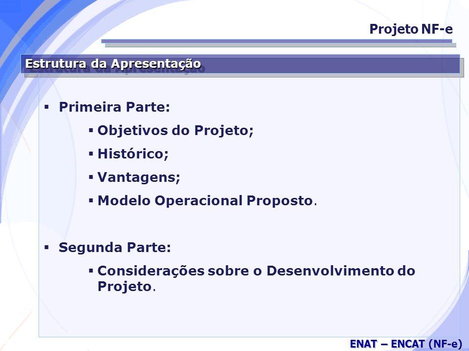 Secretaria da Fazenda ENAT – ENCAT (NF-e) Estrutura da Apresentação Primeira Parte: Objetivos do Projeto; Histórico; Vantagens; Modelo Operacional Proposto.