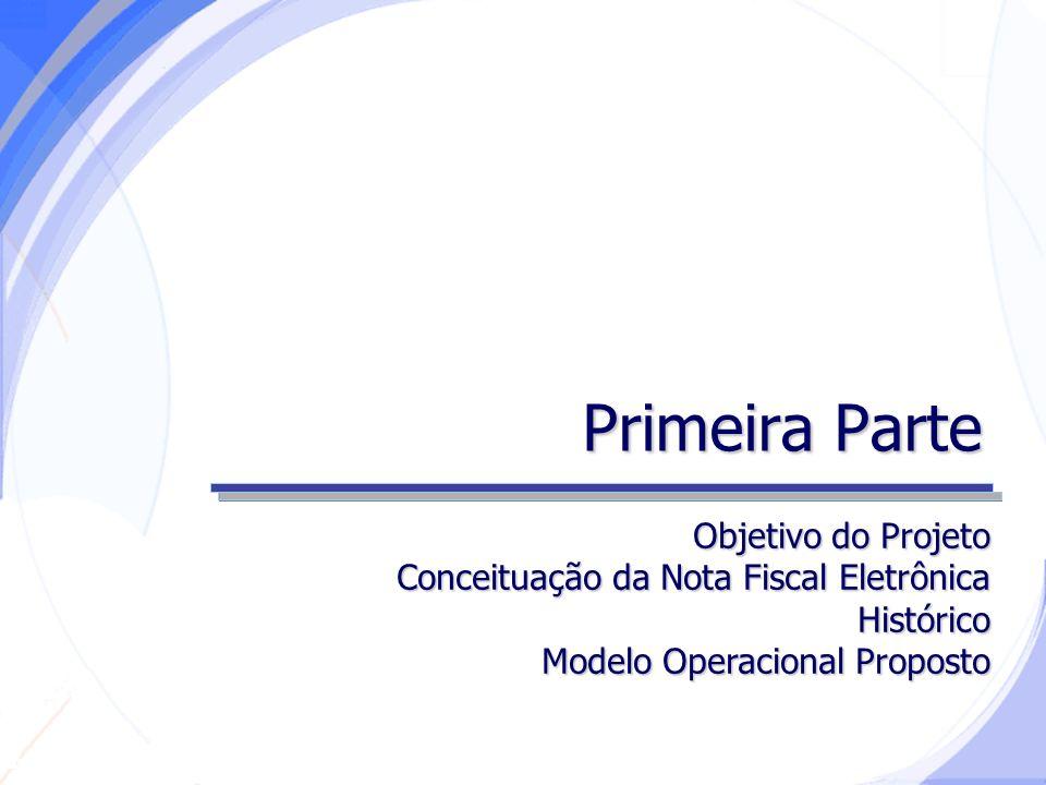 Secretaria da Fazenda Primeira Parte Objetivo do Projeto Conceituação da Nota Fiscal Eletrônica Histórico Modelo Operacional Proposto