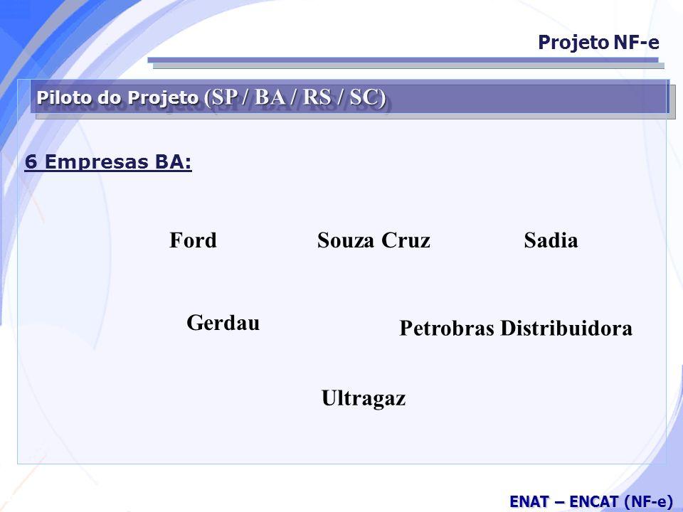 Secretaria da Fazenda ENAT – ENCAT (NF-e) Piloto do Projeto (SP / BA / RS / SC) 6 Empresas BA: Projeto NF-e Ford Petrobras Distribuidora SadiaSouza Cruz Gerdau Ultragaz