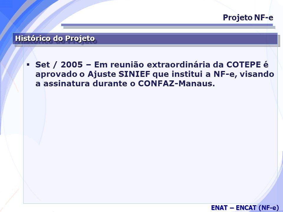 Secretaria da Fazenda ENAT – ENCAT (NF-e) Histórico do Projeto Set / 2005 – Em reunião extraordinária da COTEPE é aprovado o Ajuste SINIEF que institui a NF-e, visando a assinatura durante o CONFAZ-Manaus.