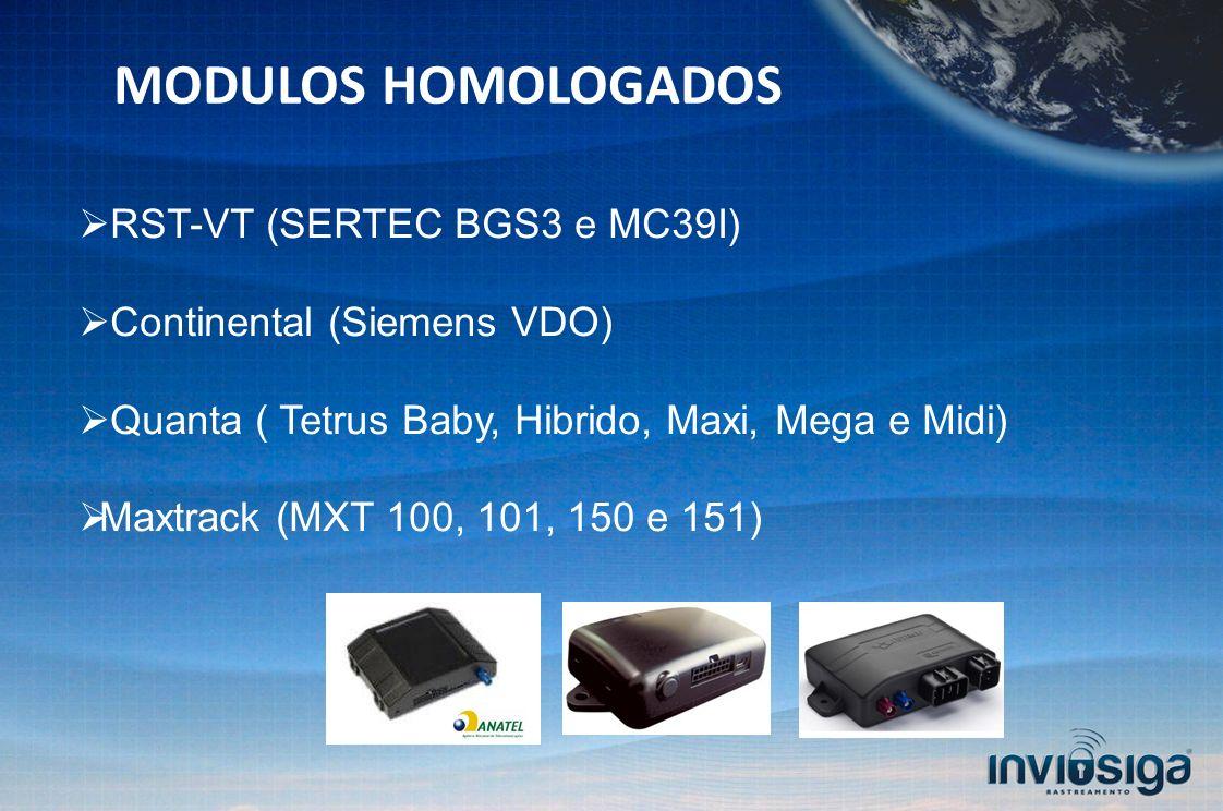 MODULOS HOMOLOGADOS RST-VT (SERTEC BGS3 e MC39I) Continental (Siemens VDO) Quanta ( Tetrus Baby, Hibrido, Maxi, Mega e Midi) Maxtrack (MXT 100, 101, 150 e 151)
