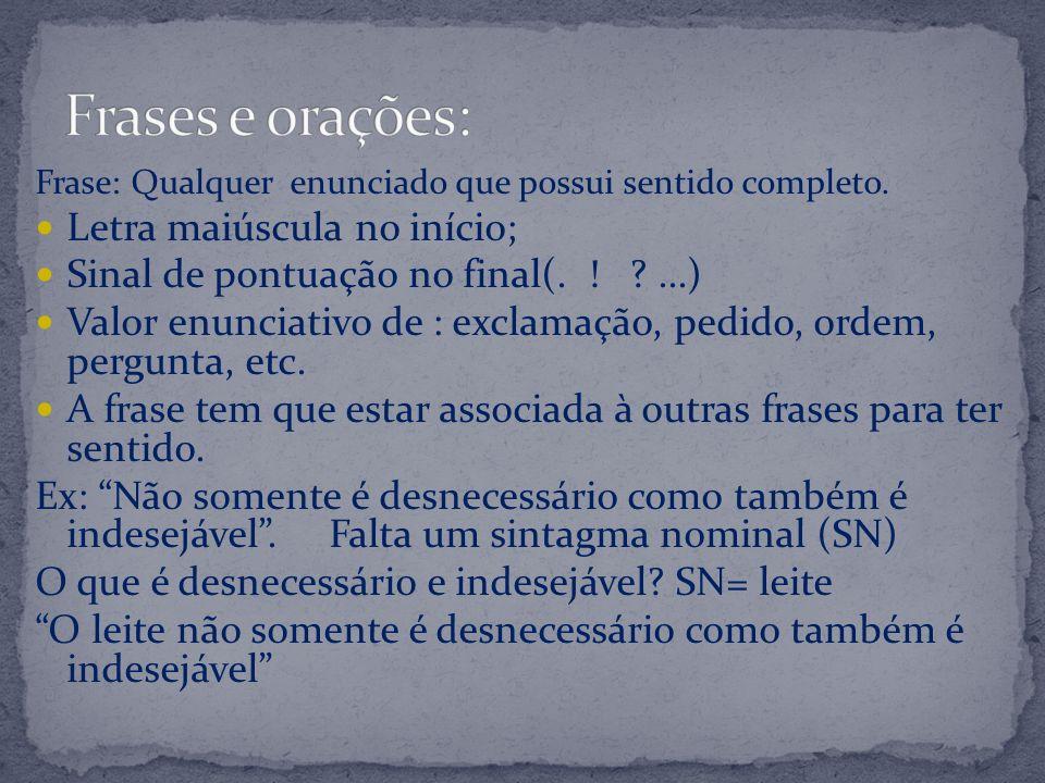 As frases se apresentam em orações: Orações simples Um único verbo.