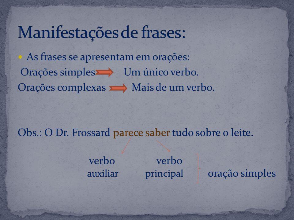 As frases se apresentam em orações: Orações simples Um único verbo. Orações complexas Mais de um verbo. Obs.: O Dr. Frossard parece saber tudo sobre o