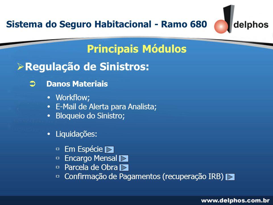 Regulação de Sinistros: Principais Módulos Danos Materiais Workflow; E-Mail de Alerta para Analista; Bloqueio do Sinistro; Liquidações: Em Espécie Encargo Mensal Parcela de Obra Confirmação de Pagamentos (recuperação IRB) Sistema do Seguro Habitacional - Ramo 680