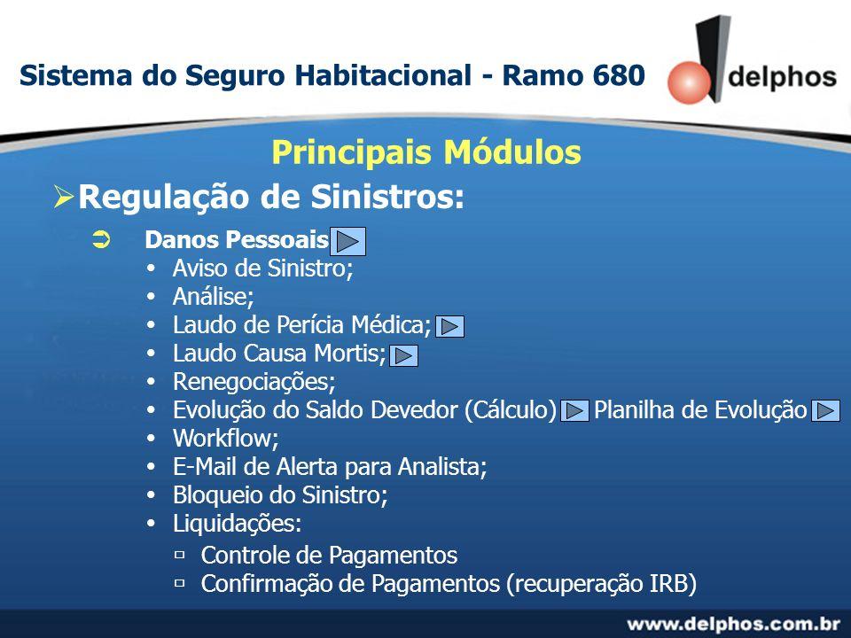 Regulação de Sinistros: Principais Módulos Danos Pessoais Aviso de Sinistro; Análise; Laudo de Perícia Médica; Laudo Causa Mortis; Renegociações; Evol