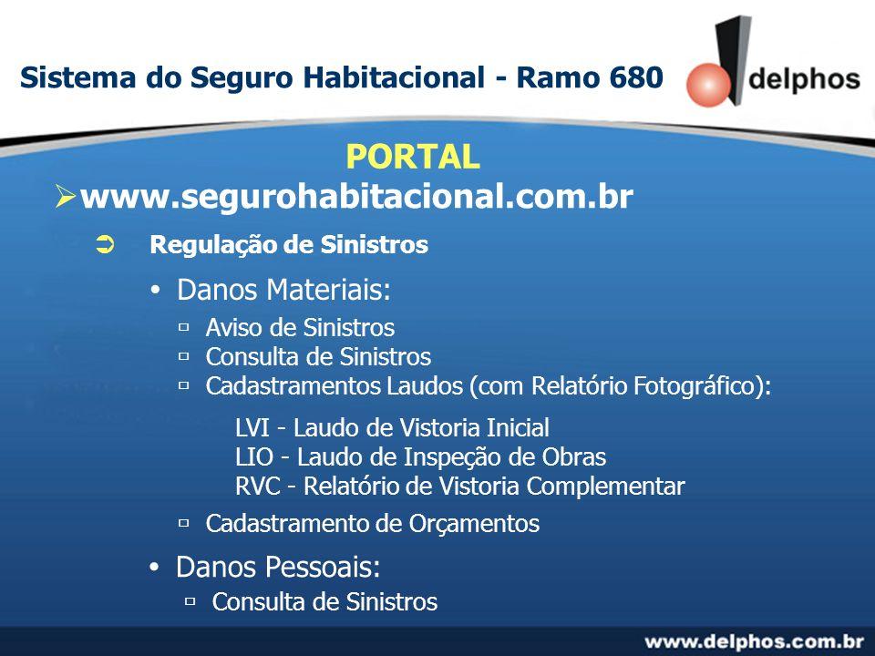 www.segurohabitacional.com.br PORTAL Regulação de Sinistros Danos Materiais: Aviso de Sinistros Consulta de Sinistros Cadastramentos Laudos (com Relat