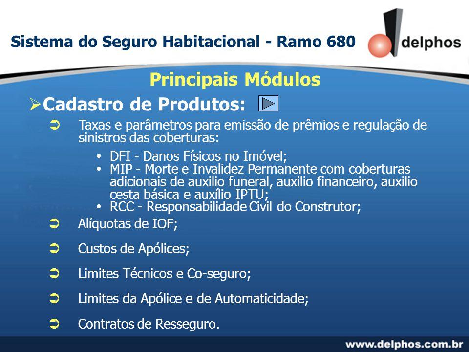 Cadastro de Produtos: Principais Módulos Taxas e parâmetros para emissão de prêmios e regulação de sinistros das coberturas: DFI - Danos Físicos no Im