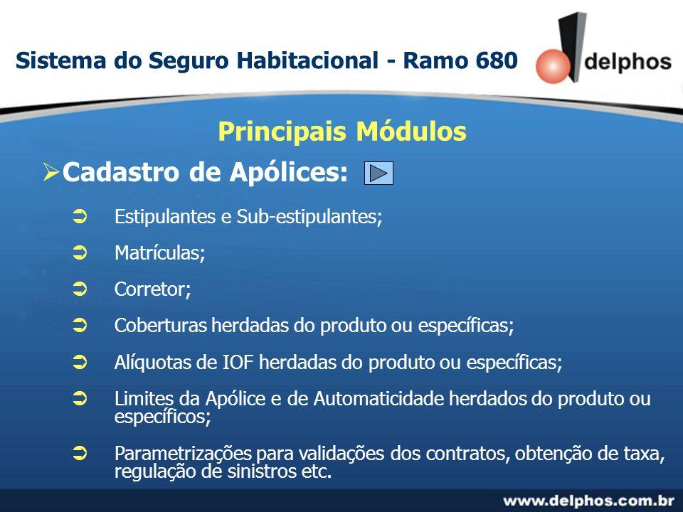 Cadastro de Apólices: Estipulantes e Sub-estipulantes; Matrículas; Corretor; Coberturas herdadas do produto ou específicas; Alíquotas de IOF herdadas