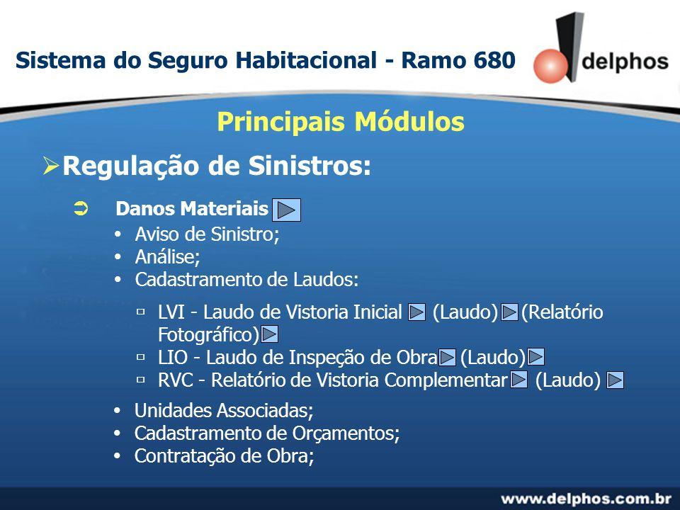 Regulação de Sinistros: Principais Módulos Danos Materiais Aviso de Sinistro; Análise; Cadastramento de Laudos: LVI - Laudo de Vistoria Inicial (Laudo) (Relatório Fotográfico) LIO - Laudo de Inspeção de Obra (Laudo) RVC - Relatório de Vistoria Complementar (Laudo) Unidades Associadas; Cadastramento de Orçamentos; Contratação de Obra; Sistema do Seguro Habitacional - Ramo 680