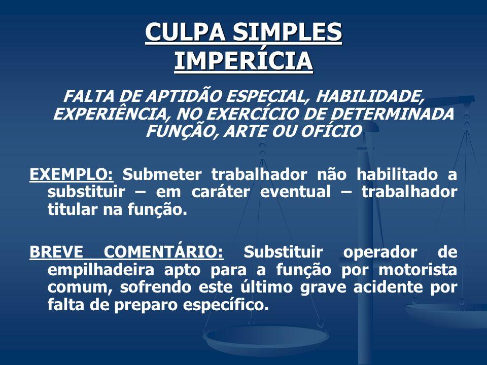 CULPA SIMPLES IMPERÍCIA FALTA DE APTIDÃO ESPECIAL, HABILIDADE, EXPERIÊNCIA, NO EXERCÍCIO DE DETERMINADA FUNÇÃO, ARTE OU OFÍCIO EXEMPLO: Submeter traba