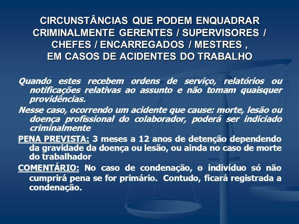 CIRCUNSTÂNCIAS QUE PODEM ENQUADRAR CRIMINALMENTE GERENTES / SUPERVISORES / CHEFES / ENCARREGADOS / MESTRES, EM CASOS DE ACIDENTES DO TRABALHO Quando e