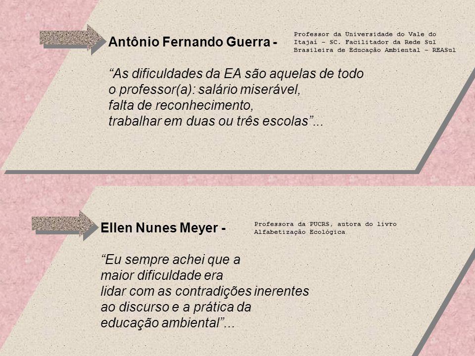 Antônio Fernando Guerra - As dificuldades da EA são aquelas de todo o professor(a): salário miserável, falta de reconhecimento, trabalhar em duas ou três escolas...