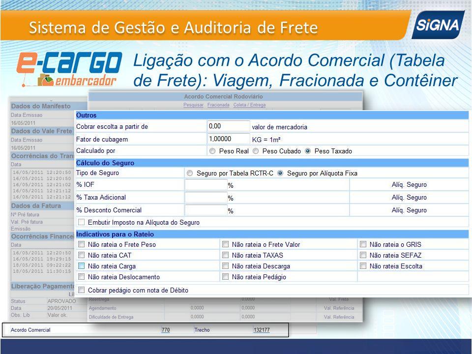 Ligação com o Acordo Comercial (Tabela de Frete): Viagem, Fracionada e Contêiner Sistema de Gestão e Auditoria de Frete