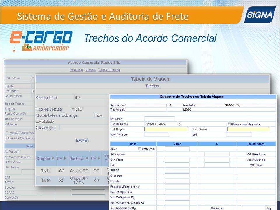 Trechos do Acordo Comercial Sistema de Gestão e Auditoria de Frete
