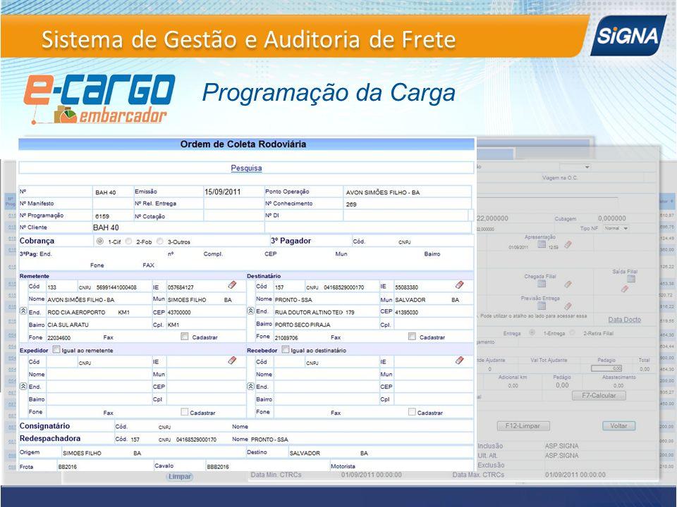 Programação da Carga Sistema de Gestão e Auditoria de Frete