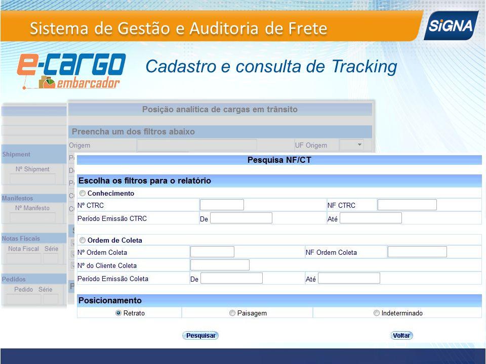 Cadastro e consulta de Tracking Sistema de Gestão e Auditoria de Frete