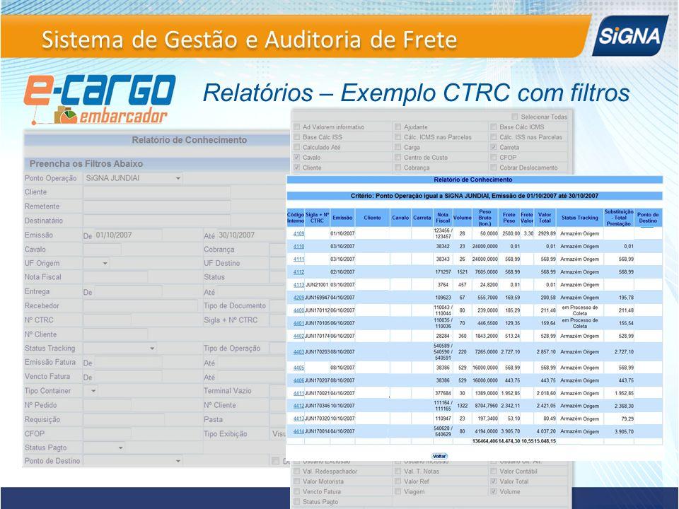 Relatórios – Exemplo CTRC com filtros Sistema de Gestão e Auditoria de Frete