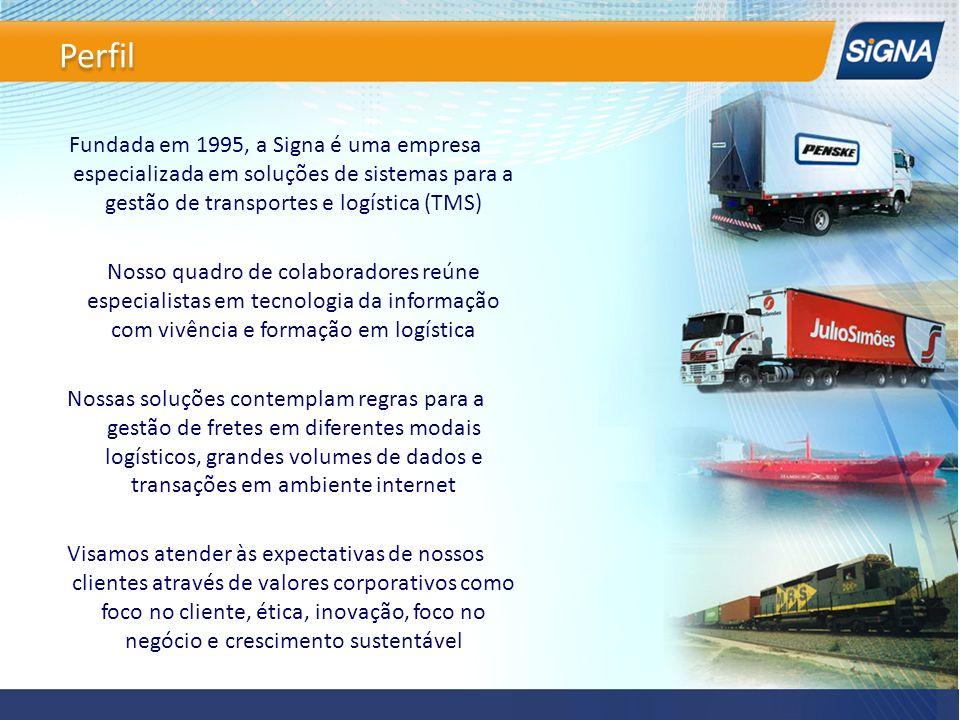 Fundada em 1995, a Signa é uma empresa especializada em soluções de sistemas para a gestão de transportes e logística (TMS) Nosso quadro de colaborado