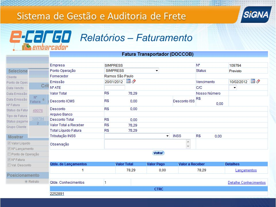 Relatórios – Faturamento Sistema de Gestão e Auditoria de Frete