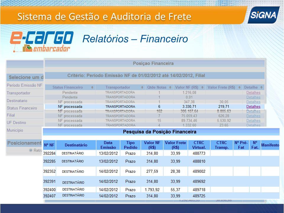 Relatórios – Financeiro Sistema de Gestão e Auditoria de Frete